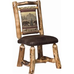 Set of 2 Rustic Aspen Dining Side Chairs with Padded Back and Seat