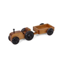 Children's Wooden Small Toy Farm Tractor with Wagon in Harvest Stain