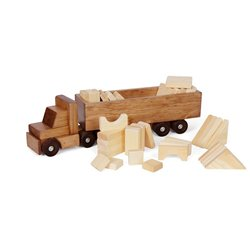 Wooden Toy Tractor and Trailer Truck with Unfinished Blocks
