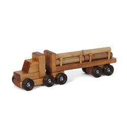 Small Wooden Tractor Trailer Truck with Log Trailer