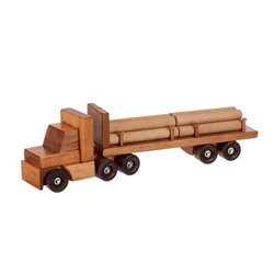 Large Wooden Tractor Trailer Truck with Log Trailer