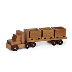 Toy Truck with Flat Bed Trailer and 3 SKids