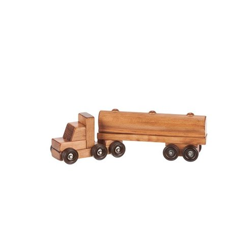 Small Wooden Tractor Trailer Truck with Tanker Trailer