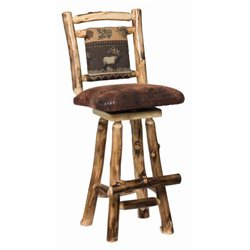 Set of 2 Rustic Aspen Log Swivel Stool with Padded Seat and Back - 2 Size Available