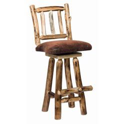 Set of 2 Rustic Aspen Log Swivel Stool with Padded Seat - 2 Size Available