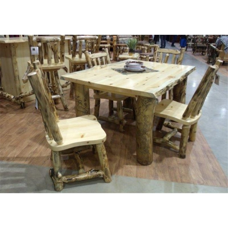 rustic aspen log dining table with 4 side chairs. Black Bedroom Furniture Sets. Home Design Ideas