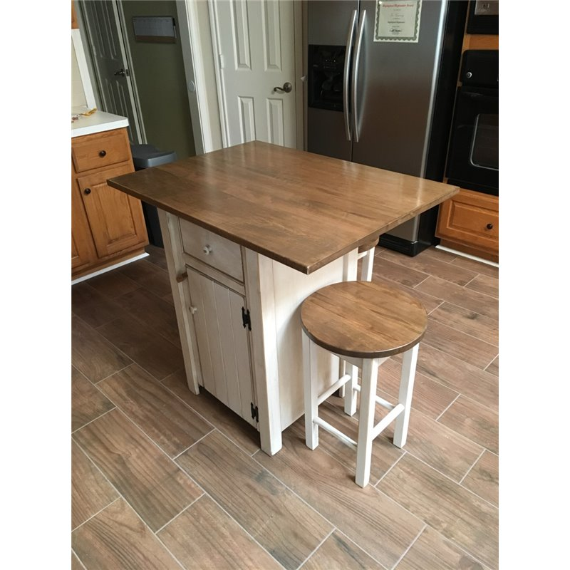 Small Kitchen Island Bench: Small Primitive Kitchen Island In Counter Height With 2 Stools