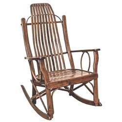 Brown Maple Flat Arm Rocking Chair in Rich Tobacco