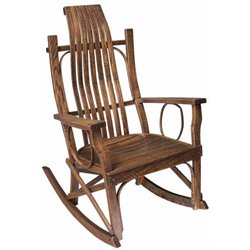 Rough Sawn Oak Flat Arm Rocking Chair