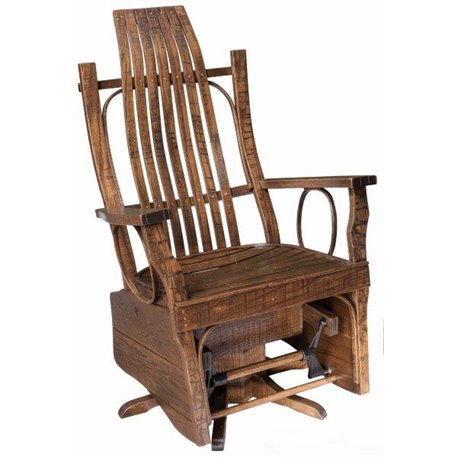 Rough Sawn Oak Flat Arm Swivel Glider in Urban Walnut Stain