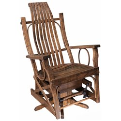 Rough Sawn Oak Flat Arm Open Side Swivel Glider in Urban Walnut Stain