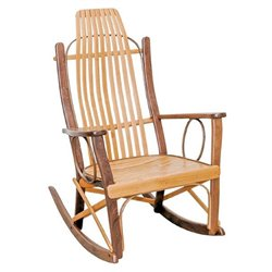 Cherry and Walnut Wood Flat Arm Rocking Chair