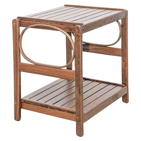 Walnut Wood 2 Tier Rectangle End Table