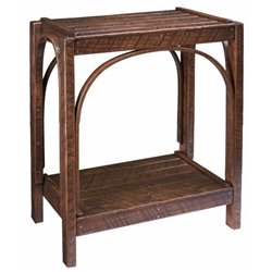Rough Sawn 2 Tier Side Table in Urban Dark Walnut Stain