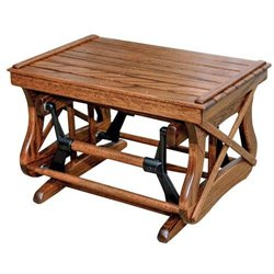 Oak Open Side Gliding Ottoman / Foot Stool in Michael's Cherry Stain