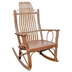 Walnut Wood Flat Arm Rocking Chair