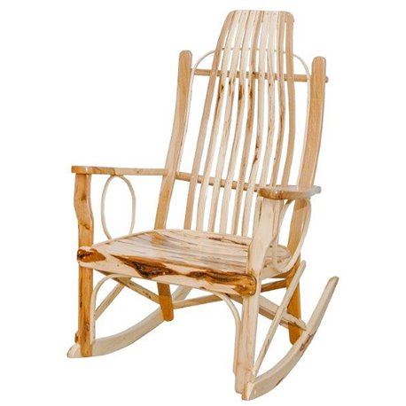 Rustic Bent Hickory Flat Arm Rocker