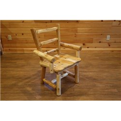 Set of 2 Rustic White Cedar Log Dining Chair with Arms