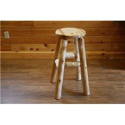 Rustic White Cedar Log Stool in Counter or Bar Height