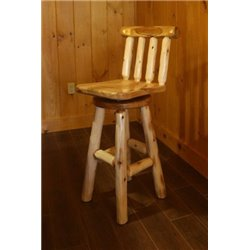 Rustic White Cedar Log Swivel Stool with Back - Counter or Bar Height