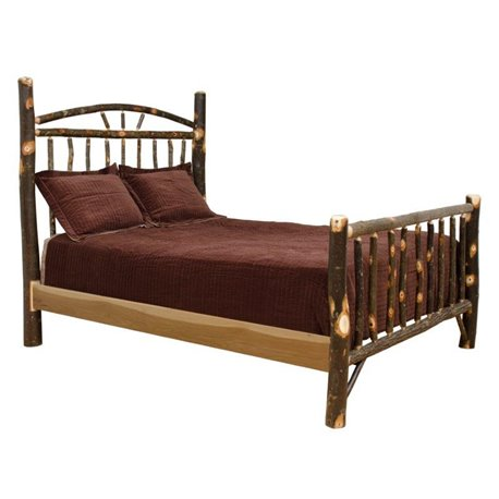 Rustic Hickory Log Bed - Wagon Wheel - Twin / Full / Queen / King