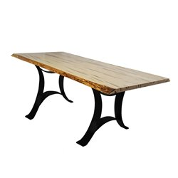 Wormy Maple Live Edge Dining Table with Golden Gate Base - Various Sizes