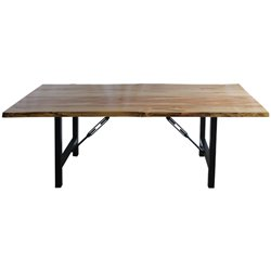 Wormy Maple Live Edge Dining Table with Teton Base - Various Sizes