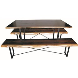 Black Walnut  Live Edge Dining Table and Benches on Rochester Base - Various Sizes