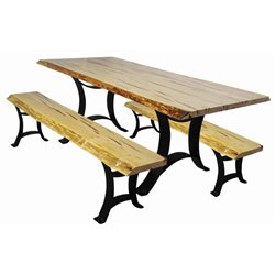 Wormy Maple Live Edge Dining Table and Benches on Golden Gate Base - Various Sizes