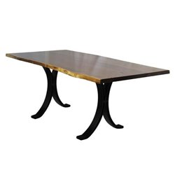 Black Walnut  Live Edge Dining Table with Eclipse Base - Various Sizes