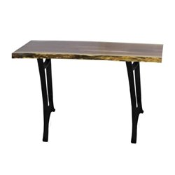 Black Walnut  Live Edge Sofa Table with Golden Gate Base