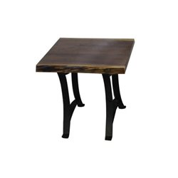 Black Walnut Live Edge End Table with Golden Gate Base