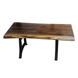 Black Walnut Live Edge Coffee Table with Golden Gate Base