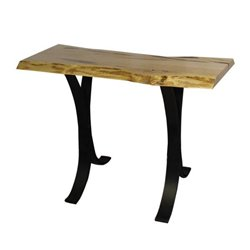 Wormy Maple Live Edge Sofa Table with Eclipse Base