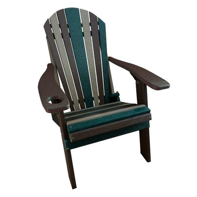 CAMO Style Folding Poly Fanback Adirondack Chair   1 Cup Holder ...