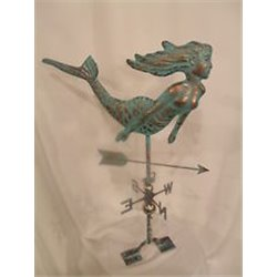 LARGE Handcrafted 3D MERMAID Weathervane Copper Patina Finish