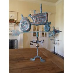 FARM TRACTOR Weathervane with Patina Finish - INCLUDES Free Roof Mount