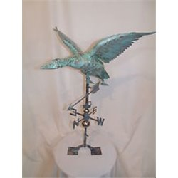 X-Large 3 Dimensional FLYING MALLARD DUCK Weathervane Copper Patina Finish