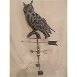 Large Outdoor Copper 3D OWL Weathervane - Patina Finish