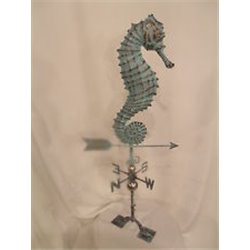 Large Outdoor Copper 3 Dimensional SEAHORSE Weathervane - Patina Finish