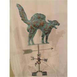 Large Outdoor Copper 3 Dimensional HUNTING CAT Weathervane - Patina Finish