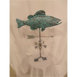 Large Outdoor Copper 3 Dimensional COY/CARP Fish Weathervane - Patina Finish
