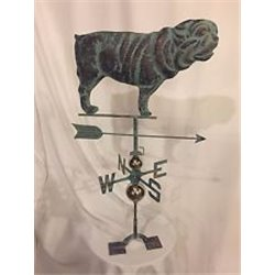 Large Outdoor Copper 3 Dimensional BULL DOG Weathervane - Patina Finish