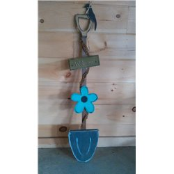 Primitive Spring Flower Shovel Stake Garden Decoration - Turquoise