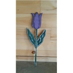 Primitive Spring Tulip Shovel Stake Garden Decoration - Purple