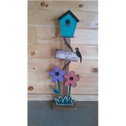 Primitive Decorative Rustic Decorative Bird House on Post - Purple & Orange