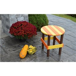 Poly Outdoor Round Side Table - Orange, Yellow, & Black Autumn Splendor