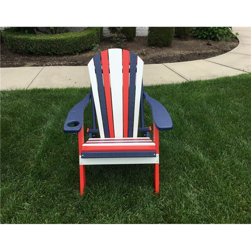 ... Poly Lumber RED, WHITE , U0026 BLUE Folding Adirondack Chair W/ Cup Holder