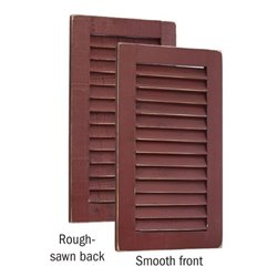 Primitive Pine 2 Foot Tall Pair of Decorative Louver Shutters - Burgundy