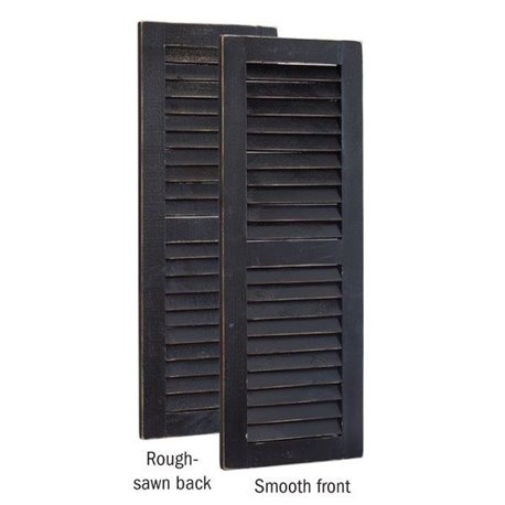 Primitive Pine 3 Foot Tall Pair of Decorative Louver Shutters - Black